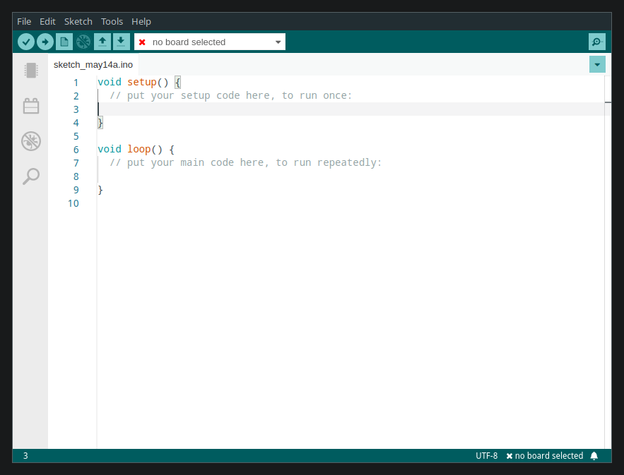 a screenshot of the default appearance of a freshly started Arduino IDE 2