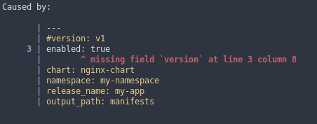 an excerpt of colored configuration file, pointing out where the error happened